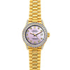 Rolex Datejust 26mm 18k Yellow Gold President Bracelet Lavender Dial w/ Diamond Bezel and Lugs