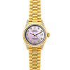 Rolex Datejust 26mm 18k Yellow Gold President Bracelet Lavender Dial w/ Diamond Lugs