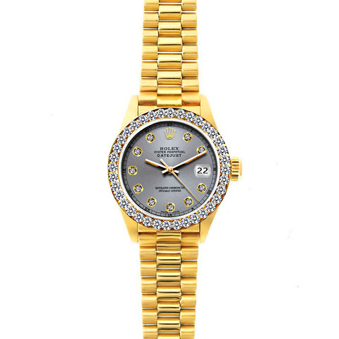 18k Yellow Gold Rolex Datejust Diamond Watch, 26mm, President Bracelet Gray Dial w/ Diamond Bezel