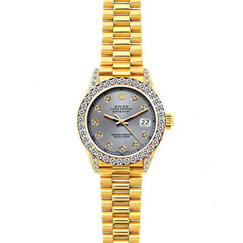 18k Yellow Gold Rolex Datejust Diamond Watch, 26mm, President Bracelet Gray Dial w/ Diamond Bezel and Lugs