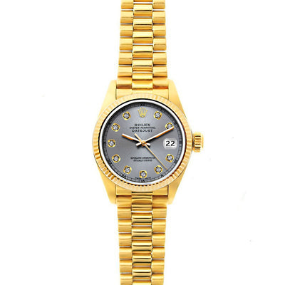 Rolex Datejust 26mm 18k Yellow Gold President Bracelet Gray Dial