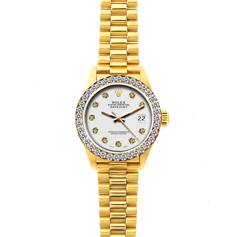 18k Yellow Gold Rolex Datejust Diamond Watch, 26mm, President Bracelet Whisper Dial w/ Diamond Bezel