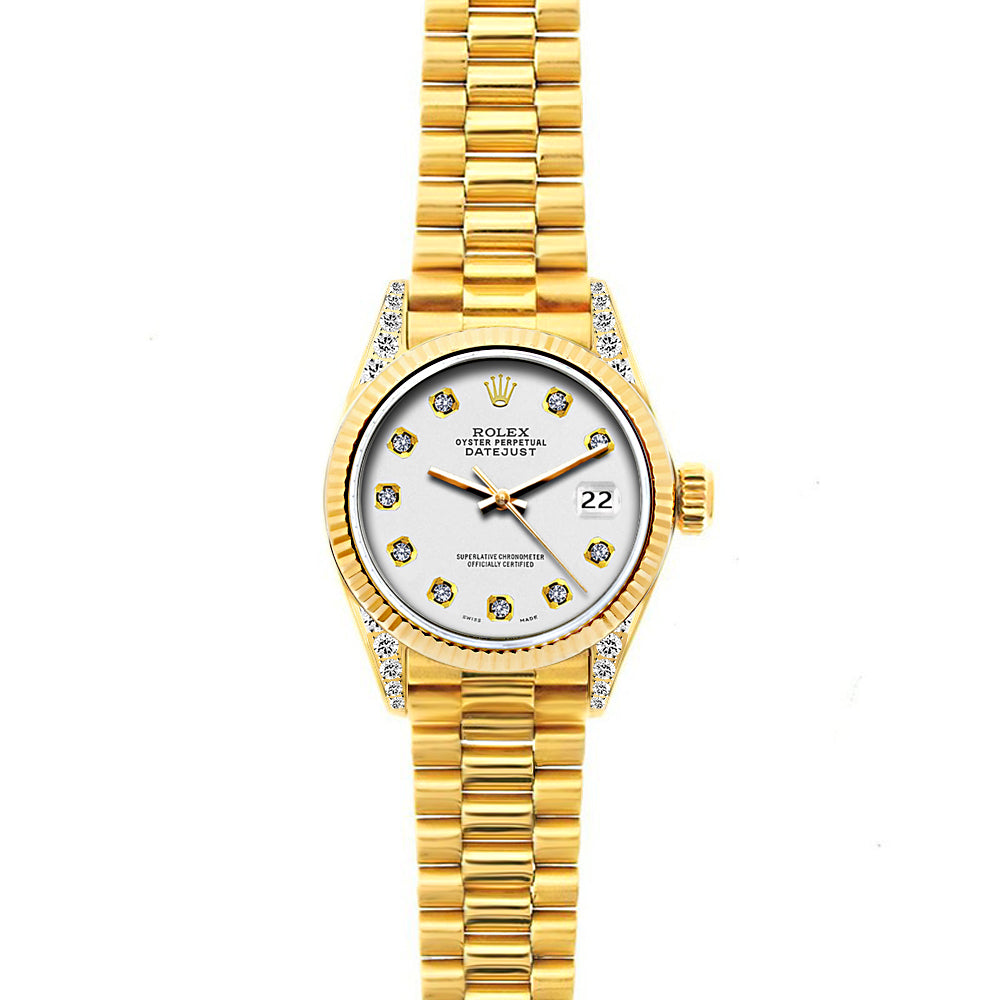 18k Yellow Gold Rolex Datejust Diamond Watch, 26mm, President Bracelet Whisper Dial w/ Diamond Lugs