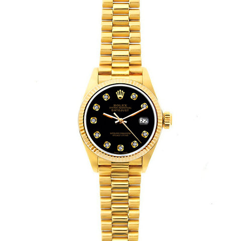 Rolex Datejust 26mm 18k Yellow Gold President Bracelet Black Dial