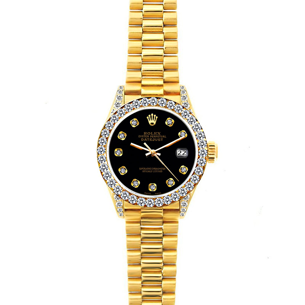 18k Yellow Gold Rolex Datejust Diamond Watch, 26mm, President Bracelet Black Dial w/ Diamond Bezel and Lugs