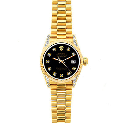 Rolex Datejust 26mm 18k Yellow Gold President Bracelet Black Dial w/ Diamond Lugs