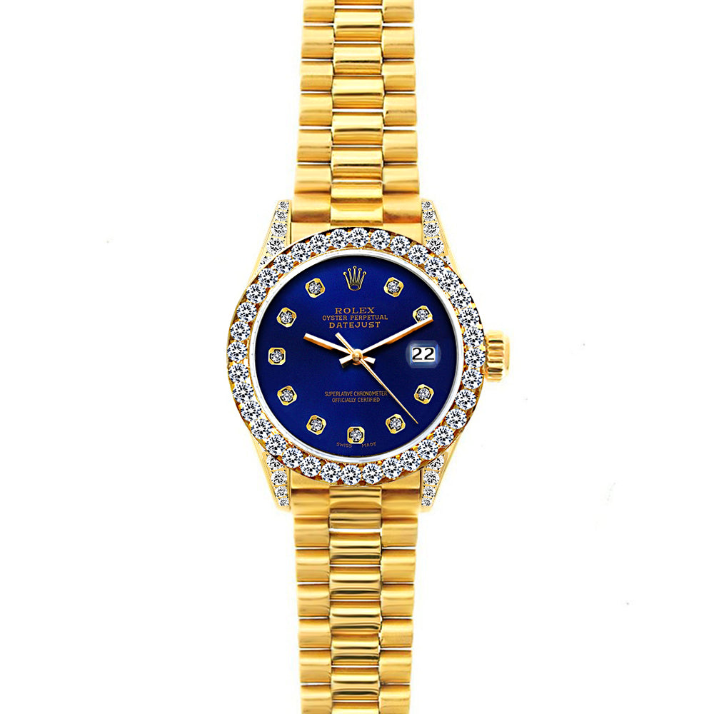 18k Yellow Gold Rolex Datejust Diamond Watch, 26mm, President Bracelet Ultramarine w/ Diamond Bezel and Lugs