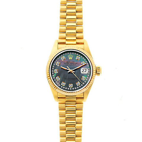 Rolex Datejust 26mm 18k Yellow Gold President Bracelet Mother of Pearl Dial