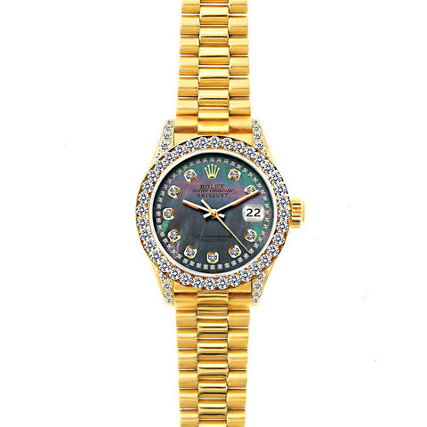 18k Yellow Gold Rolex Datejust Diamond Watch, 26mm, President Bracelet Mother of Pearl Dial w/ Diamond Bezel and Lugs