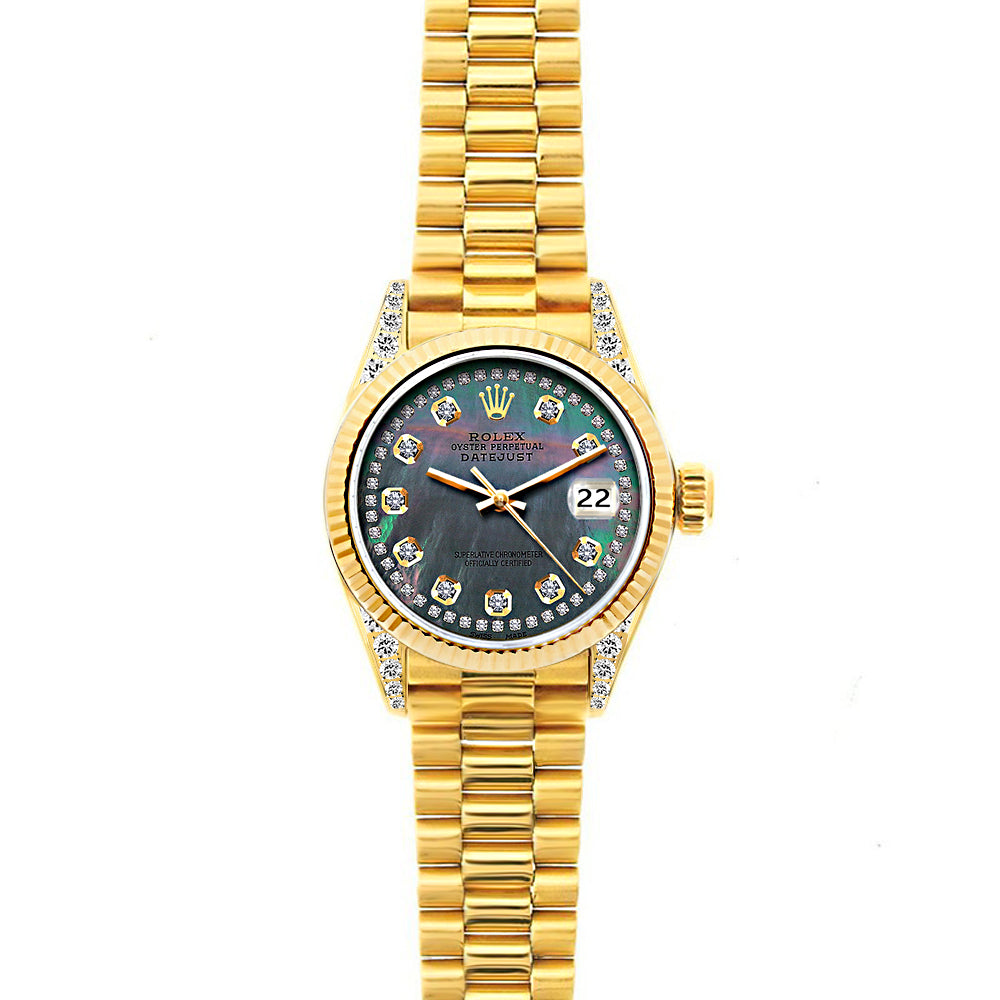 18k Yellow Gold Rolex Datejust Diamond Watch, 26mm, President Bracelet Mother of Pearl Dial w/ Diamond Lugs
