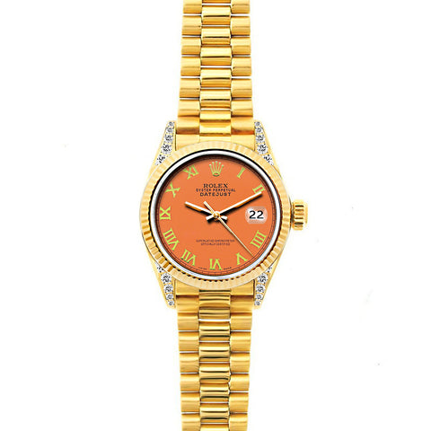 Rolex Datejust 26mm 18k Yellow Gold President Bracelet Orange Dial w/ Diamond Lugs