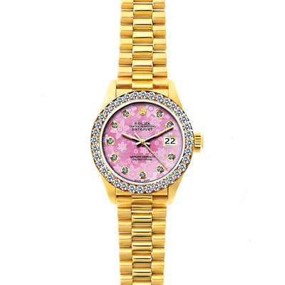 Rolex Datejust 26mm 18k Yellow Gold President Bracelet Pink Flower Dial w/ Diamond Bezel