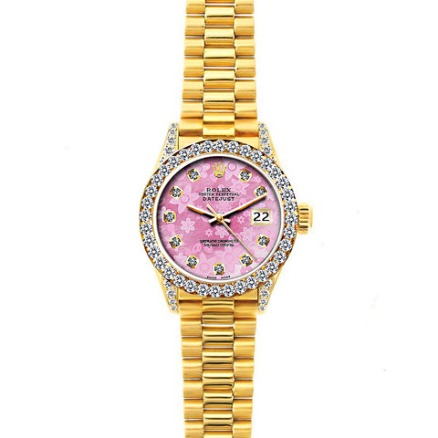 18k Yellow Gold Rolex Datejust Diamond Watch, 26mm, President Bracelet Pink Flower Dial w/ Diamond Bezel and Lugs