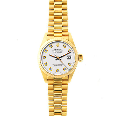Rolex Datejust 26mm 18k Yellow Gold President Bracelet Lilac Dial