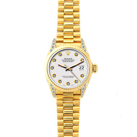 18k Yellow Gold Rolex Datejust Diamond Watch, 26mm, President Bracelet Lilac Dial w/ Diamond Lugs