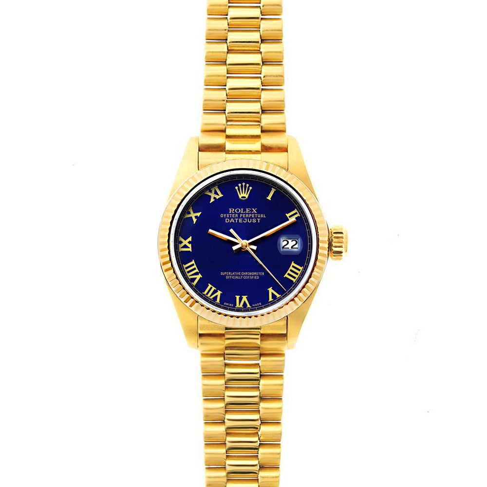 Rolex Datejust 26mm 18k Yellow Gold President Bracelet Ultramarine Dial