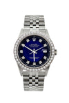 Rolex Datejust Diamond Watch, 36mm, Stainless Steel Black and Blue Dial w/ Diamond Bezel