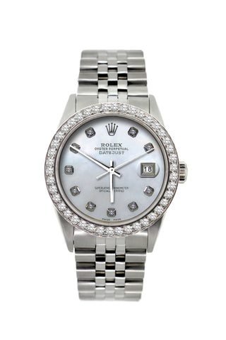 Rolex Datejust Diamond Watch, 36mm, Stainless Steel Mother of Pearl Dial w/ Diamond Bezel