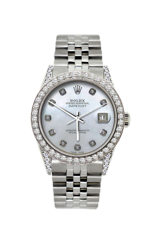 Rolex Datejust Diamond Watch, 36mm, Stainless Steel Pearl Blue Dial w/ Diamond Bezel and Lugs