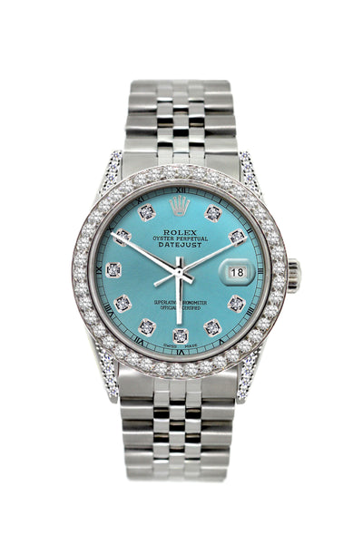 Rolex Datejust 36mm Stainless Steel Cyan Dial w/ Diamond Bezel and Lugs