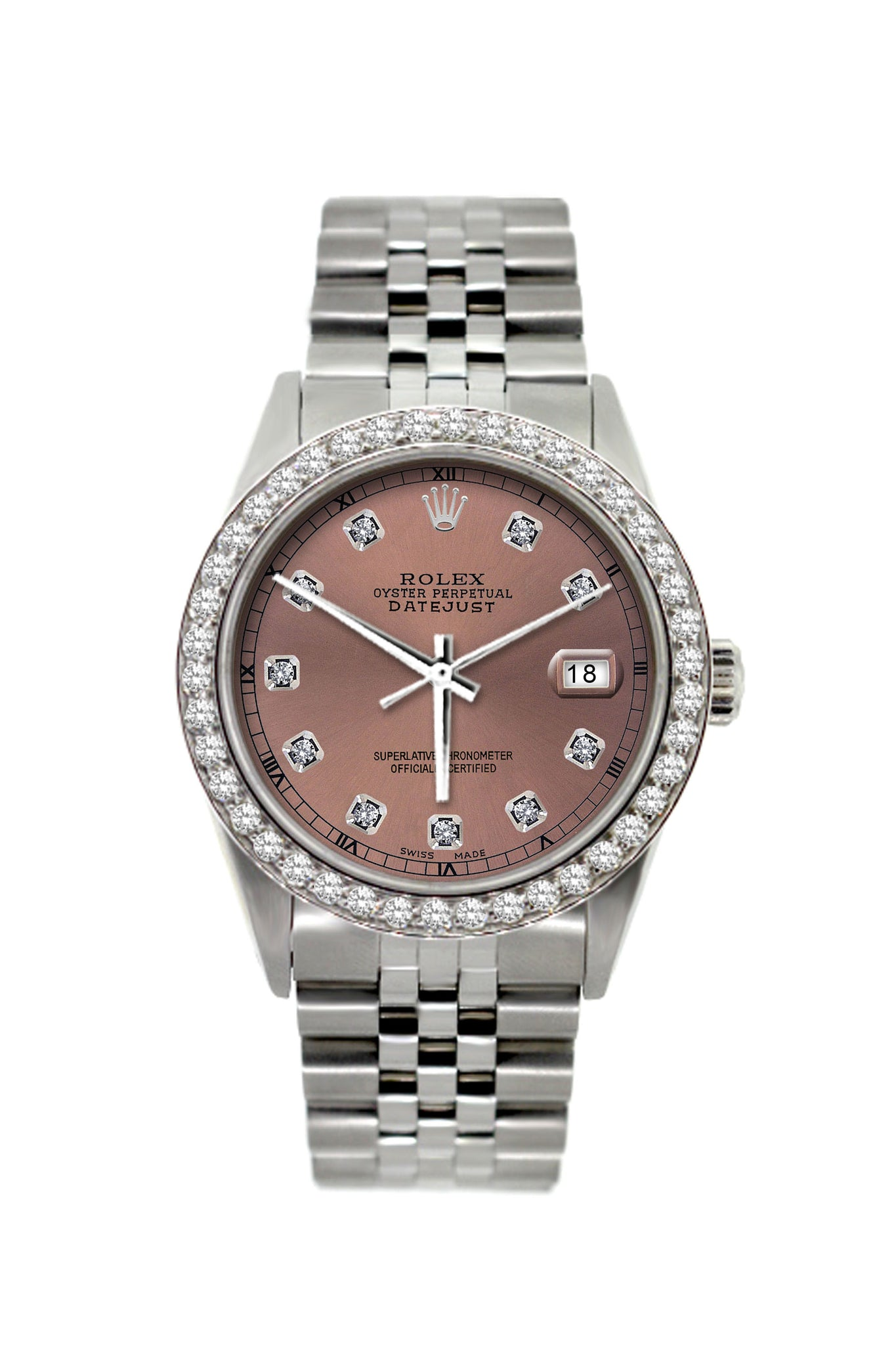 Rolex Datejust Diamond Watch, 36mm, Stainless Steel Rose Dial w/ Diamond Bezel