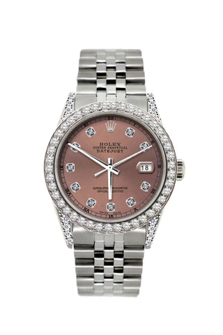 Rolex Datejust Diamond Watch, 36mm, Stainless Steel Rose Dial w/ Diamond Bezel and Lugs