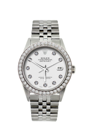 Rolex Datejust Diamond Watch, 36mm, Stainless Steel White Dial w/ Diamond Bezel