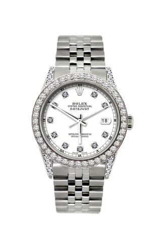 Rolex Datejust Diamond Watch, 36mm, Stainless Steel White Dial w/ Diamond Bezel and Lugs