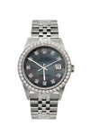 Rolex Datejust Diamond Watch, 36mm, Stainless Steel Black Mother of Pearl Dial w/ Diamond Bezel