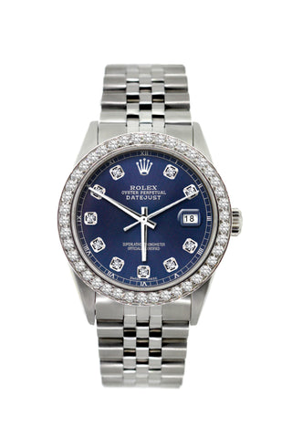 Rolex Datejust 36mm Stainless Steel Blue Dial w/ Diamond Bezel