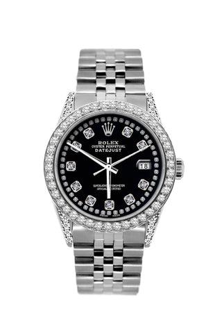 Rolex Datejust 36mm Stainless Steel Black Dial w/ Diamond Bezel and Lugs