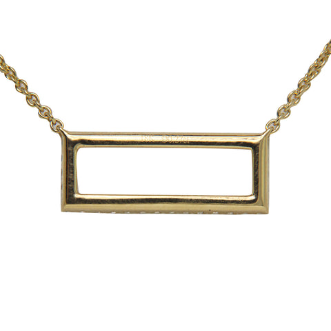 18K Yellow Gold Diamond Rectangle Pendant with Chain 0.26CT