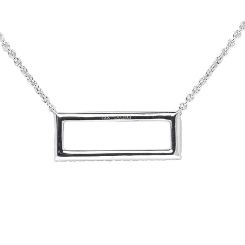 18K White Gold Diamond Rectangle Pendant with Chain 0.26CT