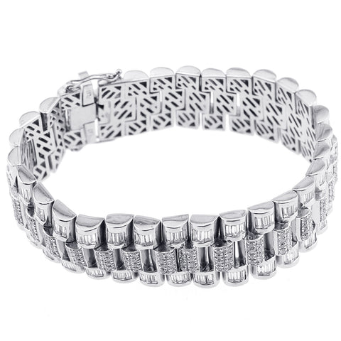 Platinum Baguette And Round Cut Diamond Bracelet With 15.20CT
