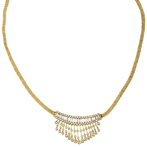 18K Yellow Gold Vintage Style Necklace With 3.50CT