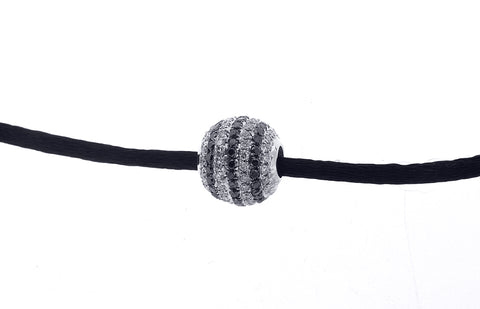 10K White Gold Ball Necklacce With Black and White Diamonds And Total Of 4.50CT