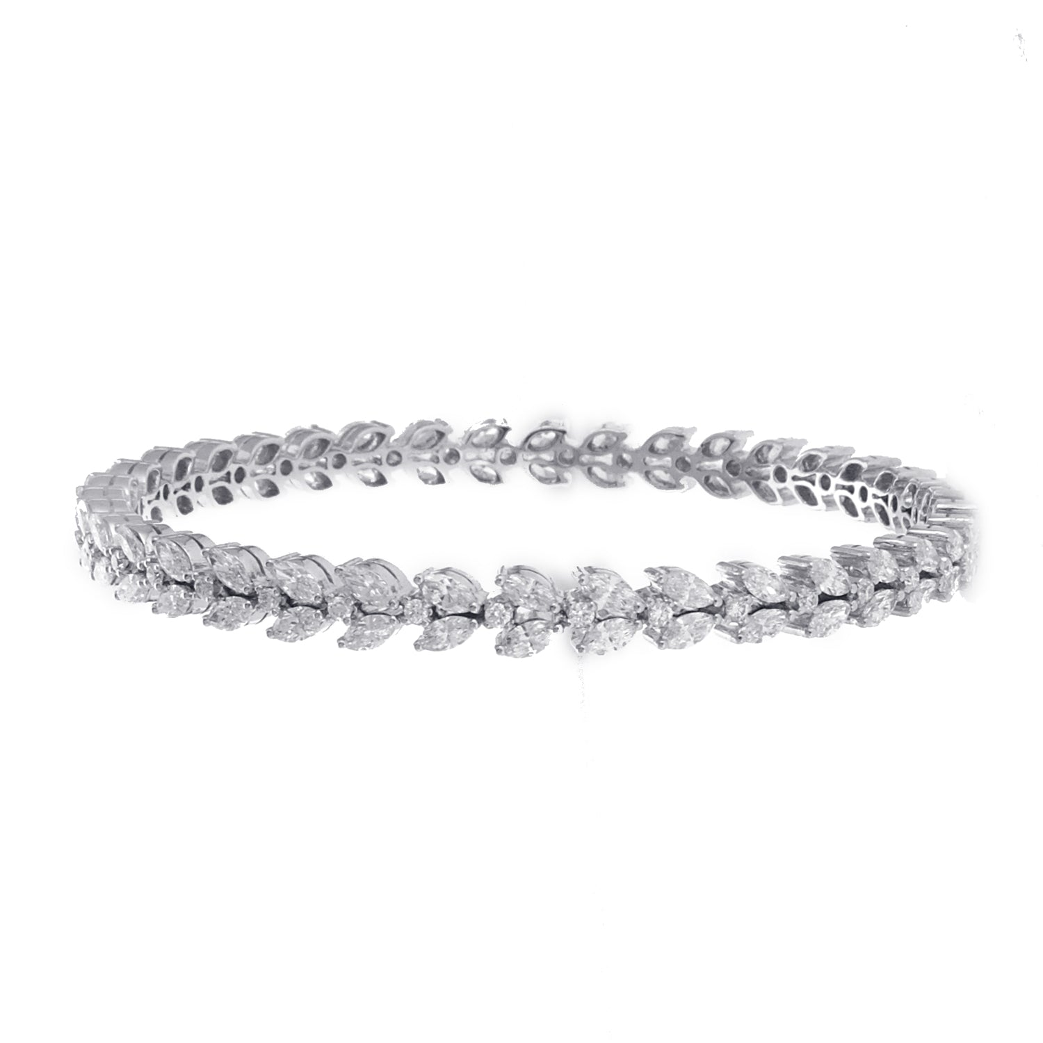 14K White Gold Fancy Bracelet With Marquise And Round Diamonds 7.00CT