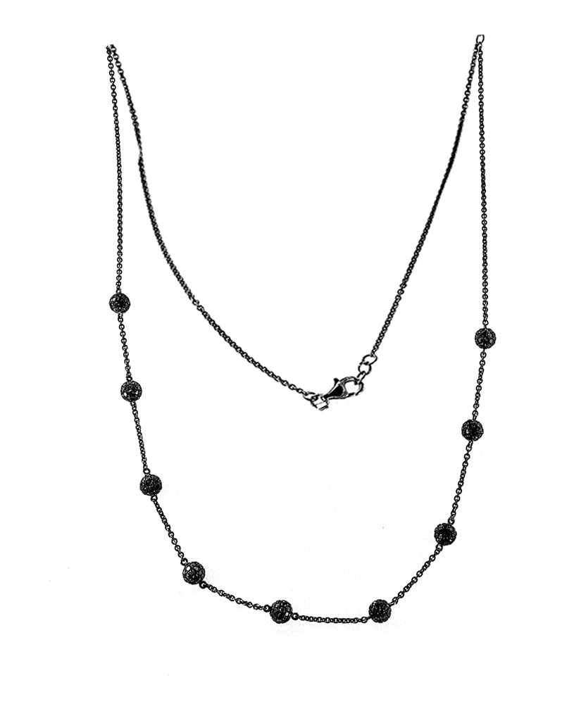 PVD Black Diamond Necklace With 4CT Of AAA Quality Black Diamonds