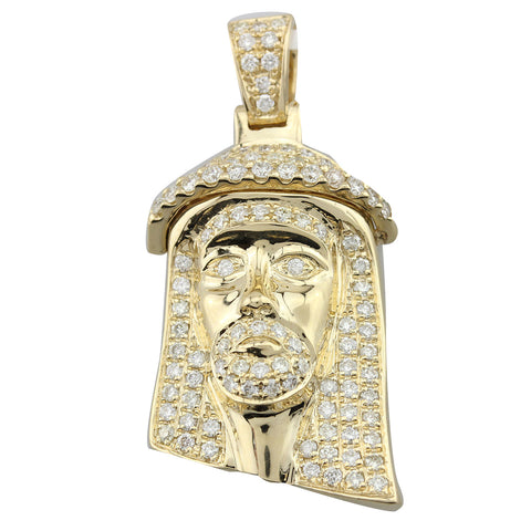 Small Jesus Head with Round Cut Diamonds