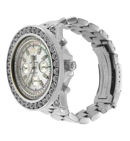 Stainless Steel Breitling Bentley Motors Diamond Watch