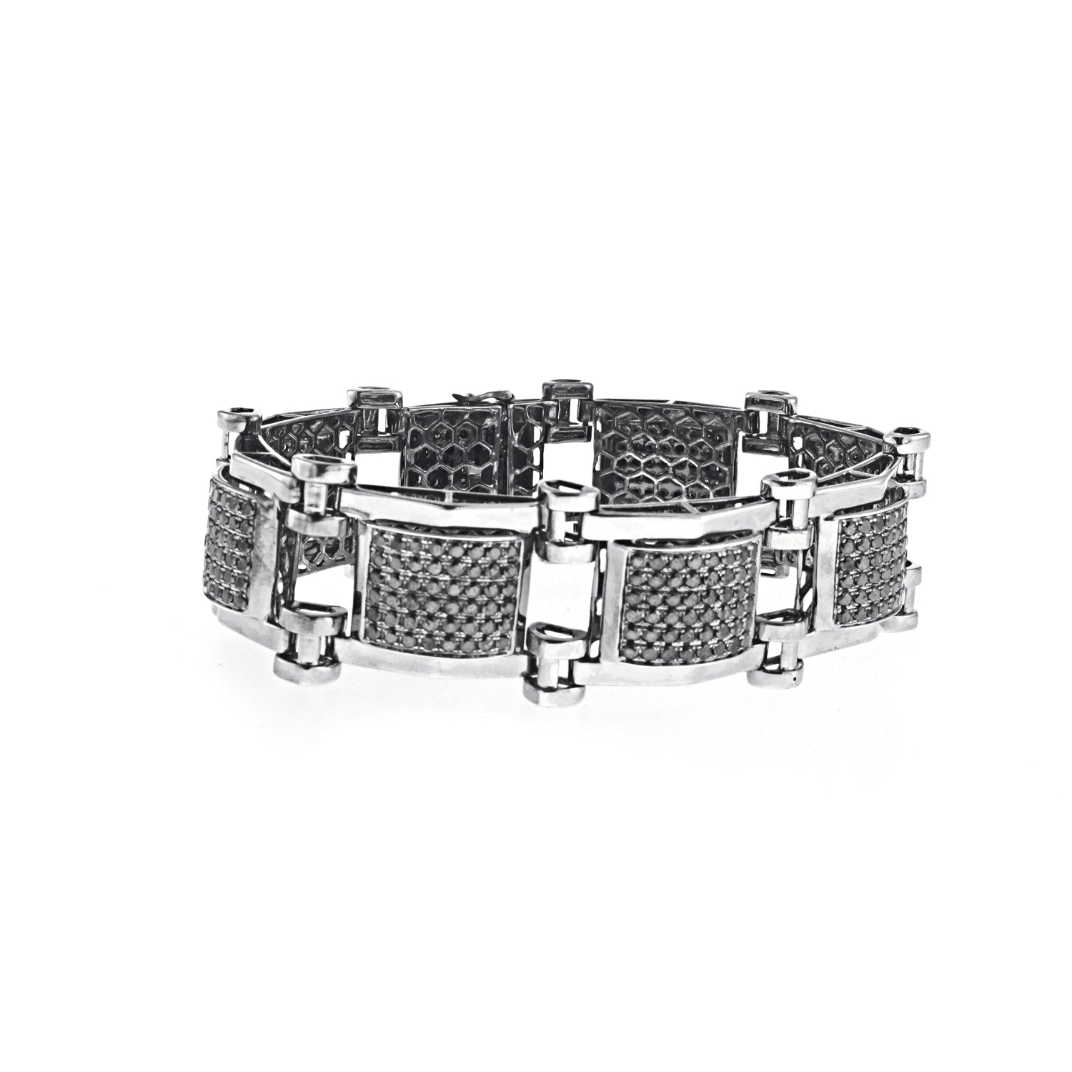 Men's PVD Coated Bracelet with Black Diamonds