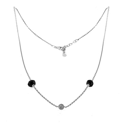 White Gold Necklace with Black and White Diamonds