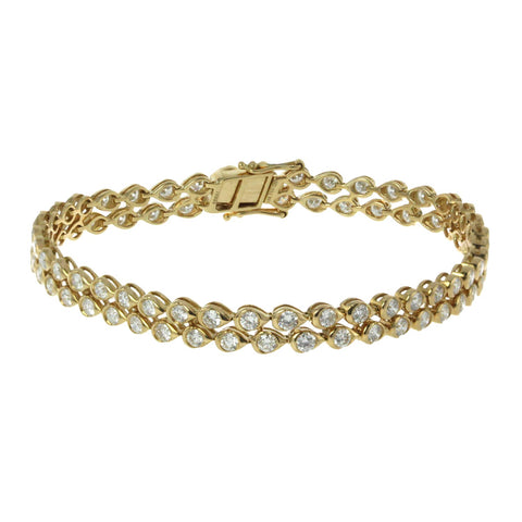 18K Yellow Gold 2 Row Bracelet With Round Cut Diamonds And 4.42CT