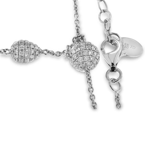 18K White Gold Diamond Ball Necklace With Round Cut Diamonds 2.59CT