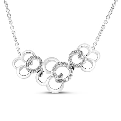 18K White Gold Diamond Flower Necklace With Round Cut Diamonds 0.30CT