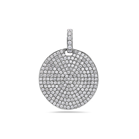 14K White Gold Disk Women's Pendant with 1.57CT Diamonds