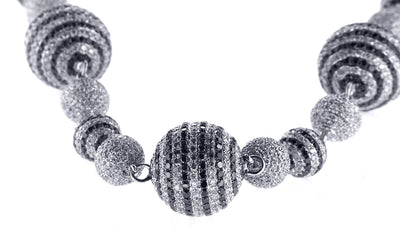 White Gold Diamond Ball Necklace with Black and White Diamonds