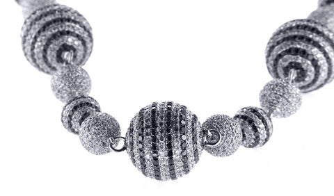 14K White Gold Diamond Ball Necklace with Black and White Diamonds