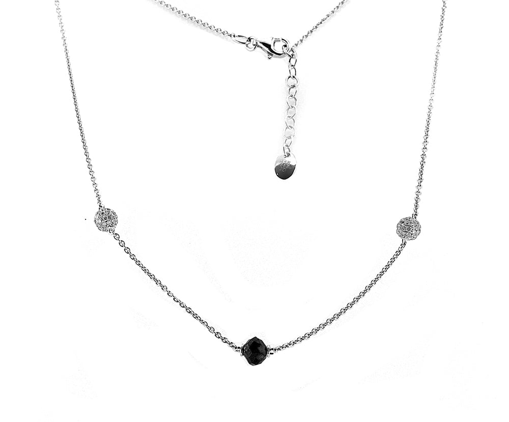 18K White Gold Diamond Ball Necklace with Black Diamonds With A Total Of 2.00CT