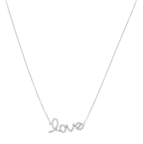 18K White Gold Diamond Love Pendant with Chain 0.25CT